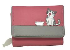 MALA Leather Cat Purse Pink Ladies TriFold Coin Card Holder Medium Wallet Purses