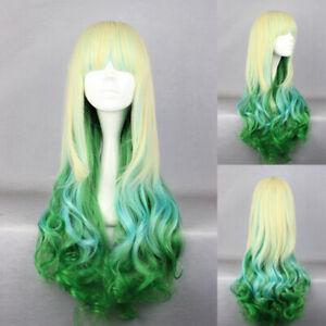 Ladieshair Cosplay Wig Perücke blond grün 75cm lockig Dipdyed Hair Karneval A7T