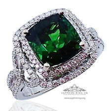 GIA 18kt 4.20 tcw Green Cushion Cut Natural Tourmaline & Diamond Custom Ring