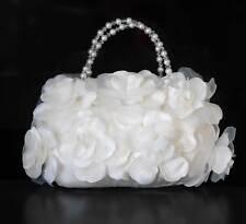 Achberger Braut Tasche voller Rosen ivory Swarovski Perlen Kristalle Satin