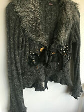 RARE UK WOMEN'S GREY CARDIGAN WITH FAUX FUR COLLAR AND RIBBON TIE - SIZE 10