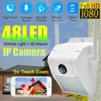 48 LED WiFi IP Security Camera 1080P Rechargeable Outdoor Battery Solar Powered