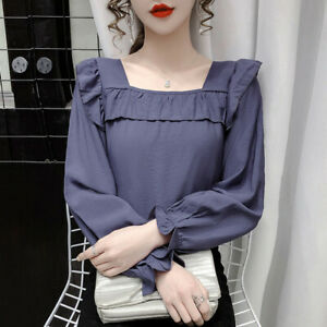 New Spring Top Women Vintage Square Neck Ruffle Chiffon Long Sleeve Shirt Blouse
