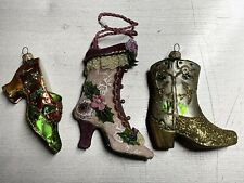 Antique Victorian Ladies High Heel Boot & Misc Shoes Ornament Used
