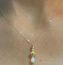 Solid gold flower nugget 14k yellow Ethiopian 1ctw Fire Opal pendant necklace