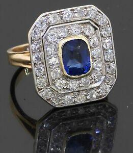 Antique 14K Platinum 2.80CT VS diamond sapphire cluster cocktail ring size 6.75