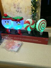 Gemmy LED LightShow Synchro Lights 4 Snowman Color Changing Pathway Markers