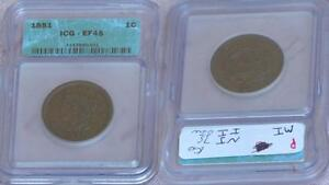 JUST REDUCED!! 1851 BRAIDED HAIR LARGE CENT ICG XF-45