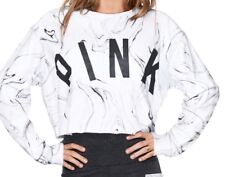Victoria's Secret PINK Cropped Campus Pullover Crew White Black Marble Large L