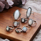 Gorgeous Wedding Rings For Women 925 Silver Jewelry Oval Cut Opal Size 6-10 New