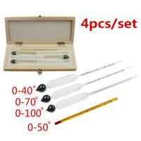 4x Alcohol Hydrometer Thermometer Set F/ Brew Wine Liquor Mead Tester Meter mkl