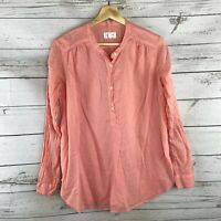 Lou & Grey Henley Shirt Size XS Womens Pink Popover Blouse Long Sleeve Top
