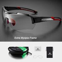 ROCKBROS Photochromic Cycling Bicycle Glasses MTB Road Bike Sunglasses Black Red