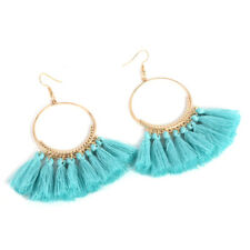 Multi Color Fashion Bohemia Round Gold Plated Thread Tassel Earrings Jewelry