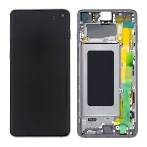 LCD OLED S10 G973F ECRAN LCD TACTILE SAMSUNG GALAXY AVEC CHASSIS BLANC PRISME