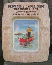 Brownie's Smoke Shop, Thornbury Ontario Tin Ashtray - Fishermen in Canoe