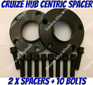 Alloy Wheel Spacers 20mm Black x 2 + Bolts For Renault Megane 3 + 4 5x114 66.1