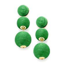 Emerald Green Three Tier Thread Ball Statement Earrings -UK SELLER