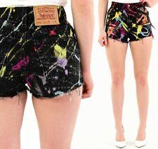 80s Vintage Levis 551 Black Tie Dyed Embellished High Waist Shorts Size 2