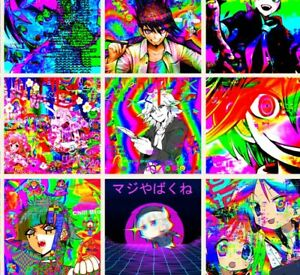 Glitchcore anime mini wall collage kit 25pics Indie room decor 4x4""