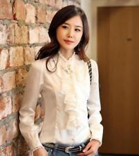 OL Women's Work Stand Collar Formal Tops High Neck Frilly Ruffle Shirt Blouse