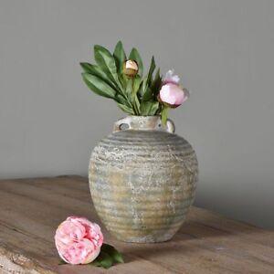 Large Rustic French Urn Vase Planter Handles Ribbed Stone Greek Olea Shabby Chic