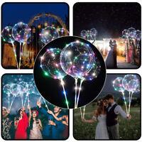 "18"" LED Light Up Balloons Transparent Stick Stand Wedding Birthday Party Decor"