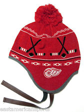 Detroit Red Wings NHL CCM Vintage Pom Ball Knit Hat Cap Trooper Winter Beanie