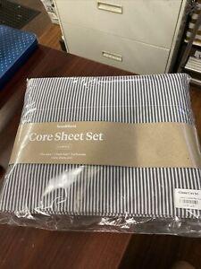 Brooklinen Queen Core Sheet Set Luxe Queen Graphite / Steel Oxford Stripe