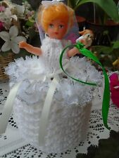 Hand Knitted Bride Doll Toilet Roll Cover