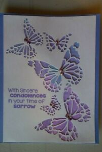Handmade Sympathy Card With Butterflies Lavender Using Stampin Up & Tim Holtz