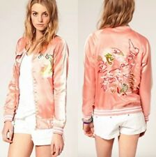 Bnwt Asos pink satin silky japanese oriental embroidered bomber jacket size 12