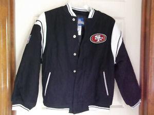 Authentic NFL Team Apparel REEBOK San Francisco 49er's Varsity Jacket Lg 14/16