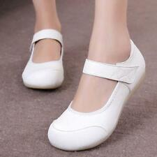 Women's Chic Nurse Shoes Leather Soft Sole Flats Medical Hospital Work Shoes US
