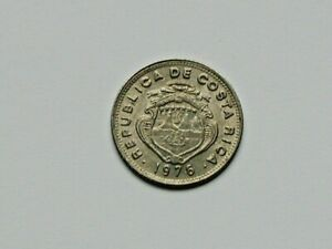 Costa Rica 1976 5 CENTIMOS Coin AU with Toned-Lustre