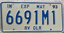 GENUINE 1993 American Indiana RV Dealer USA License Licence  Number Plate 6691M1