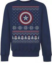 2XL Marvel Captain America Ugly Christmas Xmas Jumper / Sweater by Gildan