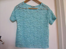 See Through Turquoise & Mint Green Floral Lace Miss Selfridge Top in Size 8