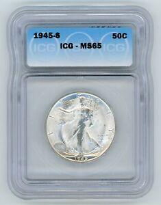 1945 S ICG MS65 GEM Walking Liberty Half Dollar 50c