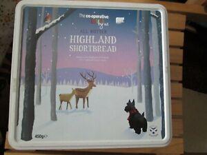 COOP HIGHLAND SHORTBREAD SELECTION BISCUIT TIN CHRISTMAS DEER  & DOG DESIGN
