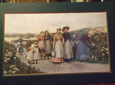"""JENNIE BROWNSCOMBE """"BERRY PICKERS"""" JAS. KING ETCHING....DOUBLE MATT INCLUDED"""