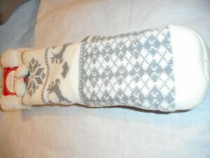 N/W/T Charter WOMEN Club Gray/White Slipper Socks With Grippers SIZE S/M