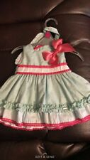 Girls Size 3 Months Designer Dolce Petite Green And Pink Dress And Bonnet