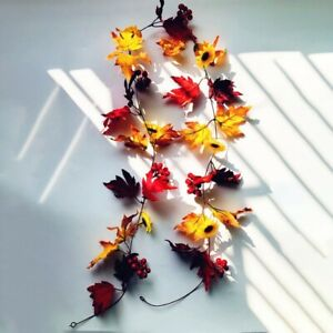 Halloween LED Light Maple Leaves Autumn Fall Plant Garland Hanging Home Decor