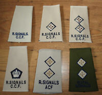 ROYAL SIGNALS RANK SLIDES, CREME & KHAKI, OFFICERS, BARRACK DRESS - BRITISH ARMY