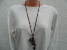 Design Six Pale Metallic Maroon Two Strand Beaded Bauble Necklace BNWT