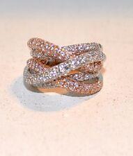 3.69CT DIAMOND RING-18KT ROSE& WHITE GOLD-15MM WIDE