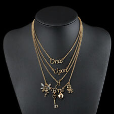 Chain Gift Once Upon A Time Letter Multilayer Statement Pendant Necklace