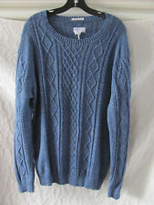 Gant Rugger Melange Cable Knit Sweater-Indigo Blue-100% Cotton-Sz L/XL-NWT $198