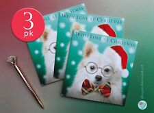 3 PACK of Christmas Cards WITH LOVE AT CHRISTMAS to from German Spitz Dog Lover